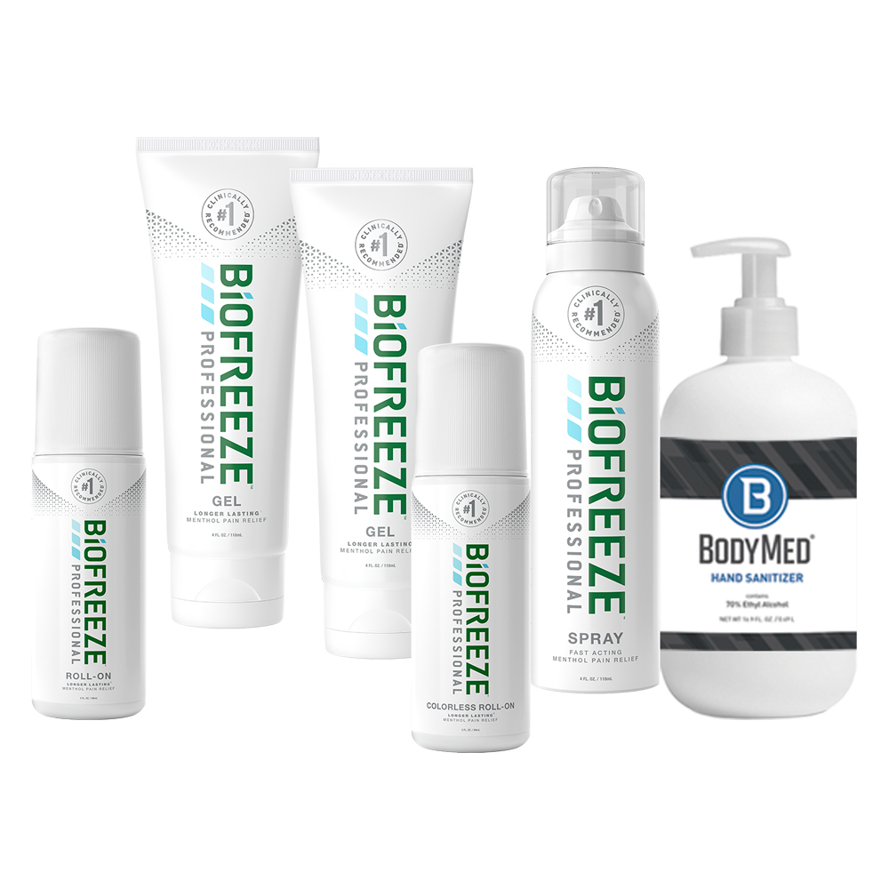Spring Promotion - Biofreeze Professional and free Bodymed hand sanitizer with purchase - Click to Shop