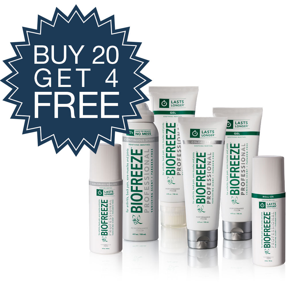 BIOFREEZE Buy 10 4oz. Tubes and 10 3oz. Roll-Ons