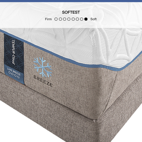 The TEMPUR-Cloud Luxe Breze is a soft, cooling mattress with adaptive support for comfort and better sleep.