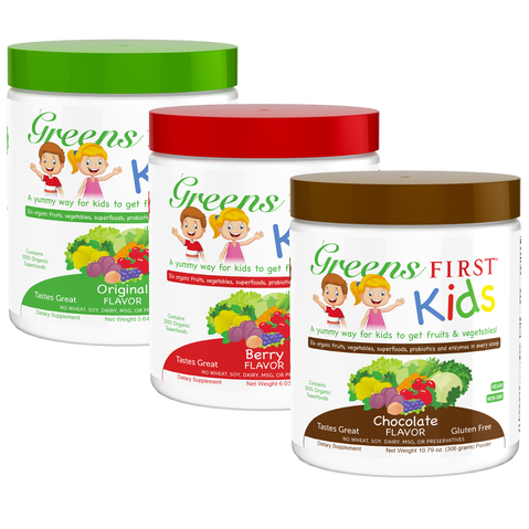 Greens First Kids in original, Berry, and chocolate