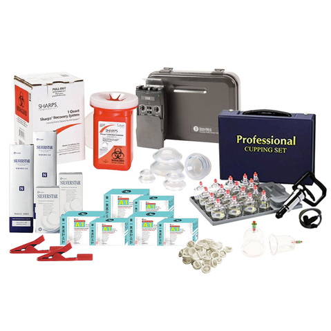 This complete kit gives the clinician everything needed to begin offering dry needling treatments, including TENS and basic cupping therapy.