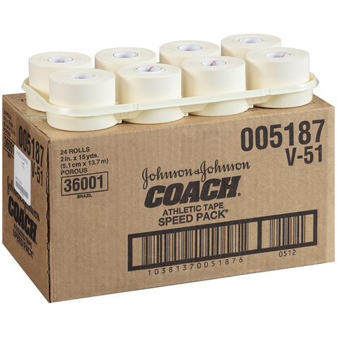 "Johnson & Johnson 2"" Coach ® Athletic Tape to provide a non-restricting, strong adhesion."