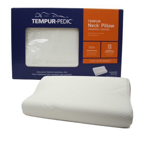 TEMPUR-Neck Pillow for back and side sleepers, designed to support the head, neck and shoulders.